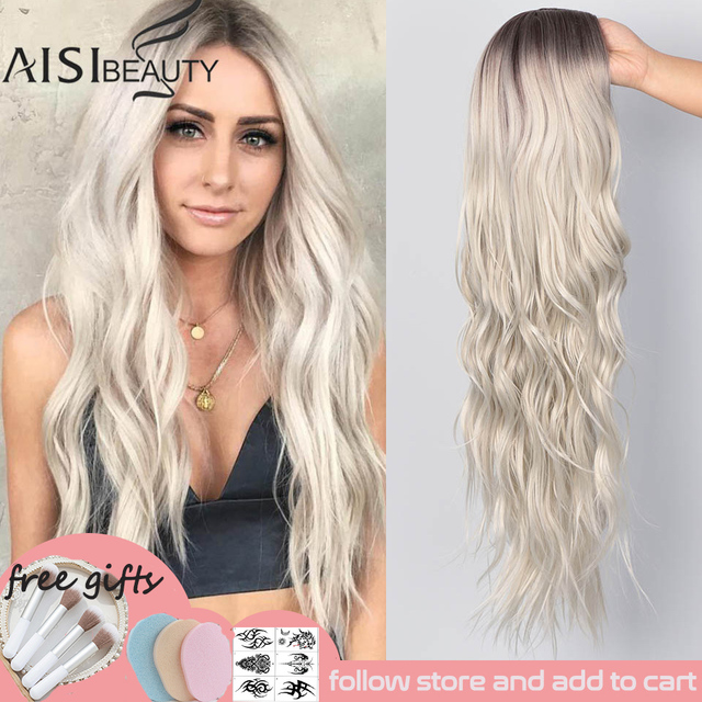 AISI BEAUTY Long Wavy Womens Wig Natural Part Side Hair Ombre Synthetic Wigs Platinum/Blonde/Black Wigs Heat Resistant for Women 1