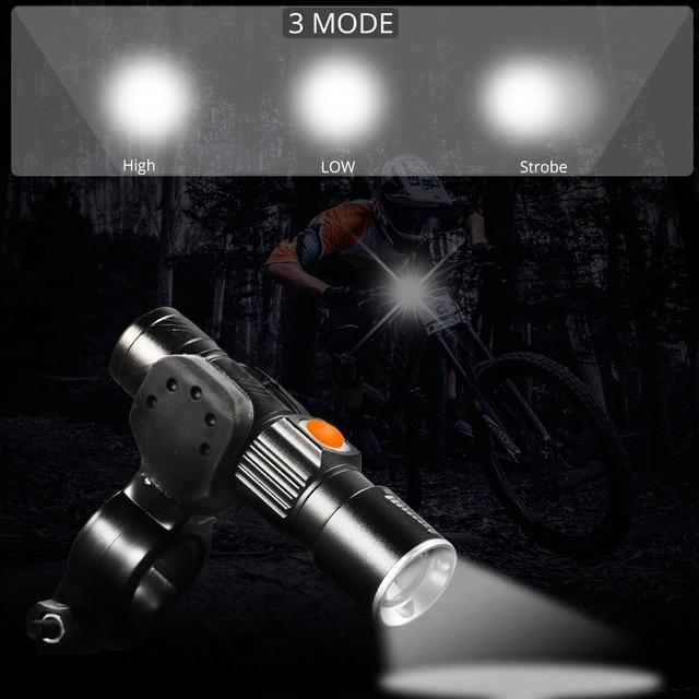 3 in1 8000 lúmen conjunto de luz da bicicleta usb recarregável led à prova dusb água super brilhante zoom farol luz traseira mtb bicicleta luz 2