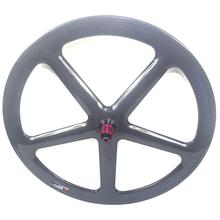 Juego de 5 radios de carbono para disco de ruedas, cubierta de freno, ruedas tubulares, 700C, cerradura central, 6 pernos