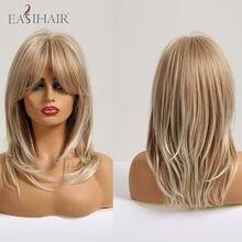 EASIHAIR-pelucas de pelo largo ondulado en capas para mujer, pelo Afro rubio con flequillo, Cosplay, pelucas sintéticas naturales, fibra resistente al calor