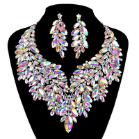 Luxurious Dubai style Wedding Jewelry Sets Rhinestone AB Crystal Statement Bridal silver Necklace Sets Christmas Gift for women