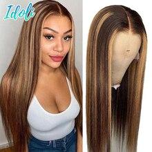 Ombre reta destaque perucas de cabelo humano 13x4 peruca frontal do laço remy perucas de cabelo humano mel loiro perucas de cabelo brasileiro 8-30 Polegada