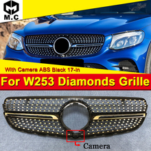 Diamond Style Grille Grill W253 ABS Black With Camera Fits For MercedesMB GLC class GLC250 300 400 Look grills Without sign 17+