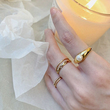 5pcs/set Lead&nickel Free Delicate Freshwater Pearl Paved 14k Gold Plated Ring Set for Lady Minimalist Korean Girl's Ring