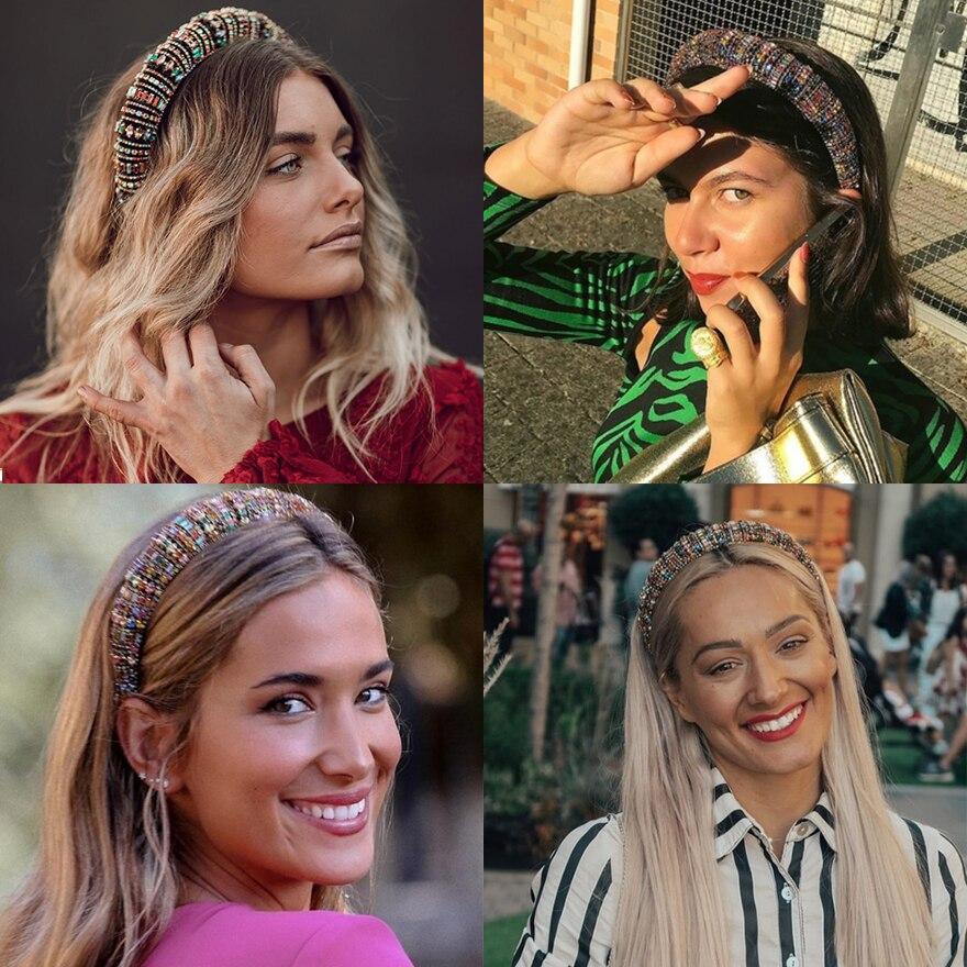 Top SaleMOLANS Padded Headbands Rhinestones-Sponge Bejeweled Rainbow Sparkly Fashion Women Luxurious
