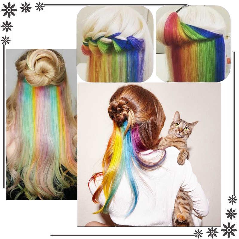 Ailiade Dây Buộc Tóc Trên Kẹp 20 Inch Thẳng Dài Giả Làm Tóc Kẹp Trong Cột Tóc Rainbow Vệt Ombre Tổng Hợp Cho phụ Nữ
