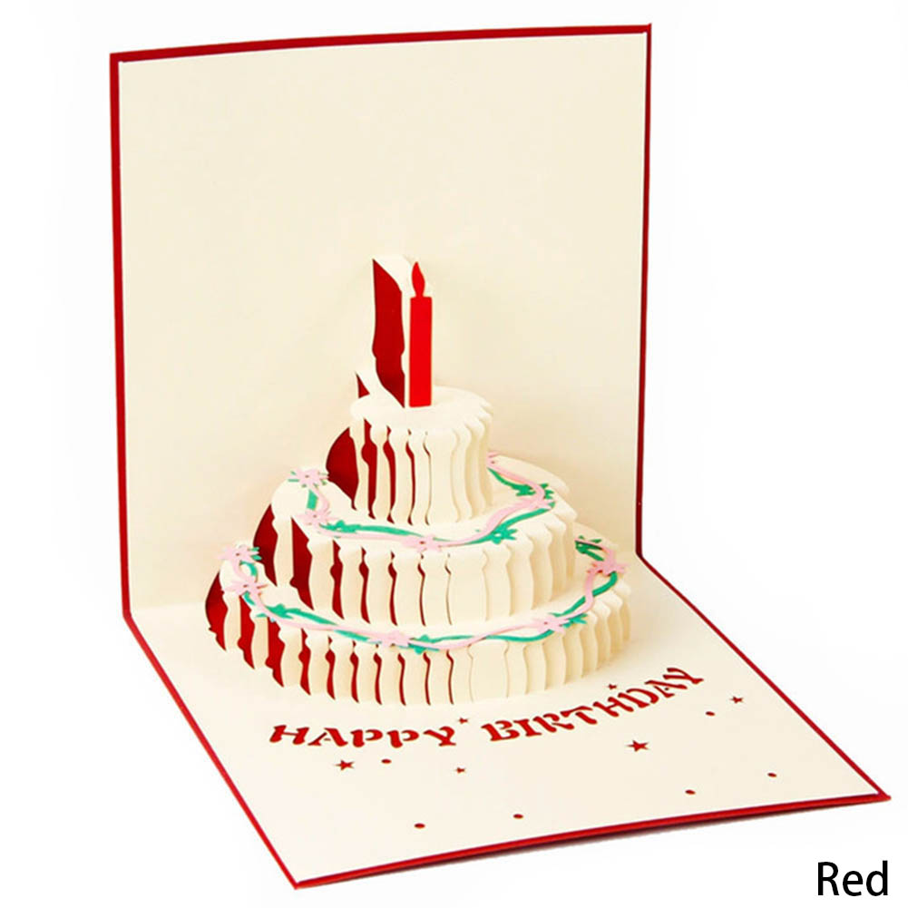 3D Fashion Up Handcrafted Origami Birthday Cake Candle Design Greeting Card Envelope Invitation Card Kirigami 15*15cm