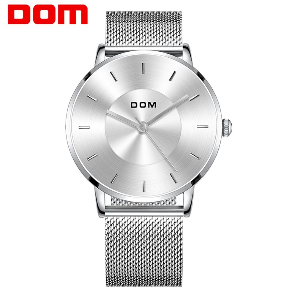 Watch men DOM Top Brand Luxury Quartz watch Casual quartz-watch steel Mesh strap clock male Relog M-1289D-7M