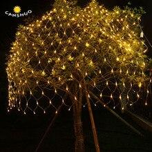 야외 LED 그물 조명 6x4M 3x2M 1.5x1.5M 요정 크리스마스 트리 빛 낚시 그물 빛 크리스마스 파티 결혼식 장식 조명