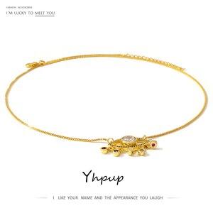Colgante y collar de moda para mujer Yhpup, collar de borla de ojo de cristal, accesorios de jersey con encanto de cobre para regalo de fiesta femenina 2020