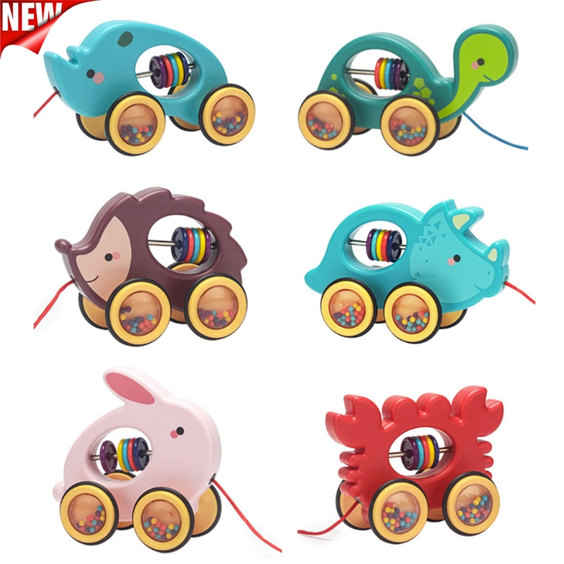 Baby Cartoon Animal Car Pull Rope Drag Vehicles Rattles Educational Gifts 23GD
