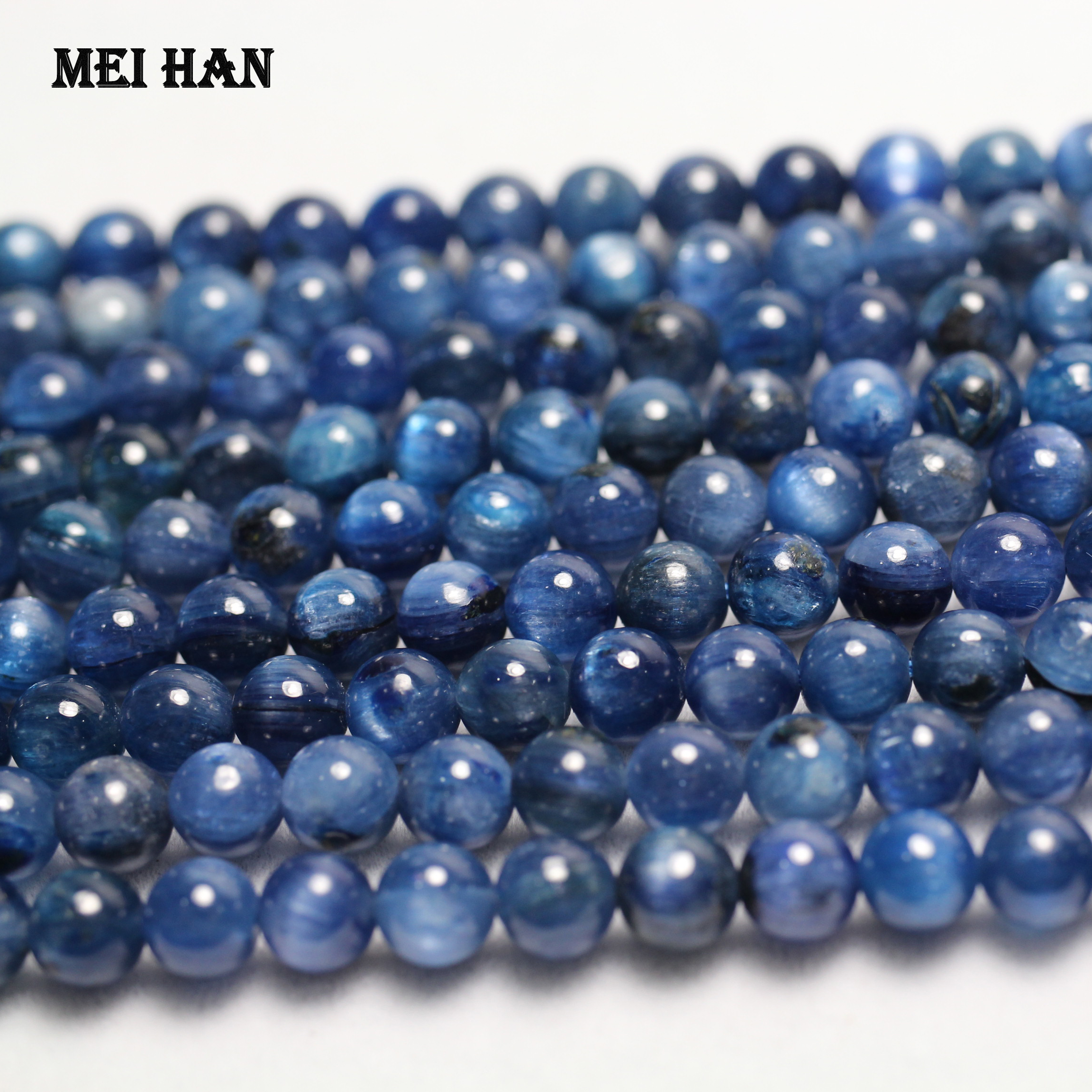 Stone-Beads Jewelry Kyanite Diy-Making Round Blue 6mm Meihan for Smooth