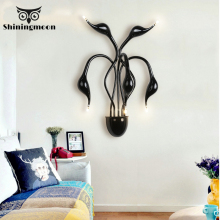 Modern Design Swan Wall Lamps Nordic Led Luxury Golden Light Bathroom Bedroom Bedside Sconce Lamp Stairs Vanity