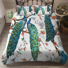 A Bedding Set 3D Printed Duvet Cover Bed Peacock Feather Home Textiles for Adults Bedclothes with Pillowcase #KQ05