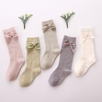 Baby Summer Clothing New Kids Toddlers Girls Big Bow Knee High Long Soft Cotton Lace Baby Socks Bowknot 100% Cotton Socks
