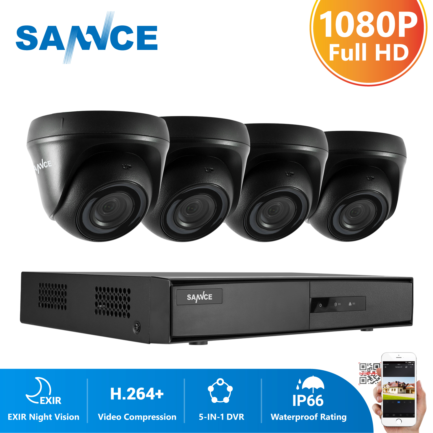 SANNCE 4CH 1080P Video Security System 5IN1 1080N DVR With 4PCS 1080P Outdoor Weatherproof CCTV Home Video Surveillance Cameras