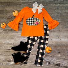 Halloween Baby Girl Clothes Pumpkin Pattern Ruffle Flare Sleeve Plaid Trousers Outfits Children's Clothing ruffle trim flare sleeve top