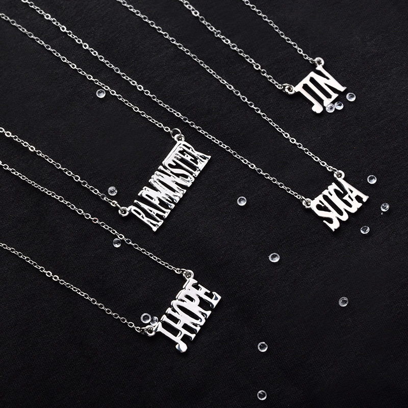 BTS Bulletproof Boys Necklace Men And Women BTS Korean-style Should Aid Titanium Steel Necklace Korean-style Versatile Necklace