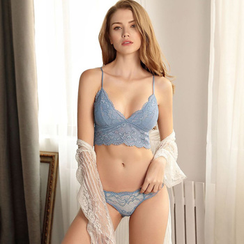 Women Wire Free Bras Set Comfortable Adjustable Straps Embroidered Sexy Lace Triangle Cup Push Up Underwear Bra Set Lingerie фото