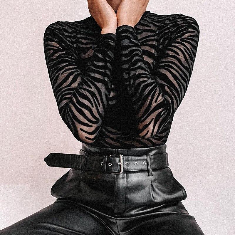 Women Jumpsuit Autumn lim Half-high Collar Jumpsuit Perspective Nettingh Irregular Stripes Long Sleeve Jumpsuit