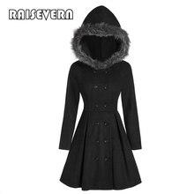 Abrigo de lana con capucha de piel de imitación Medieval para mujer abrigo gótico de cuello de pie negro de invierno 2019 abrigo largo gótico doble botonadura