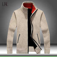 Hiver épais hommes tricoté pull manteau fermeture éclair à manches longues Cardigan polaire pleine fermeture éclair mâle casual grande taille vêtements pour l'automne