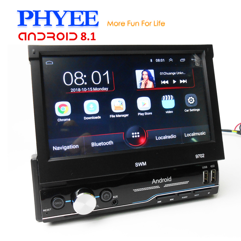 Car Android Retractable 1 Din Autoradio GPS Mirrorlink Bluetooth Handsfree Wifi 7 Screen Multimedia Player Head Unit PHYEE 9702 image