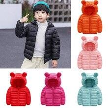 Детская зимняя куртка для мальчиков и девочек; куртка; хлопковое пальто; пальто с ушками; детская верхняя одежда на молнии с капюшоном и ушами