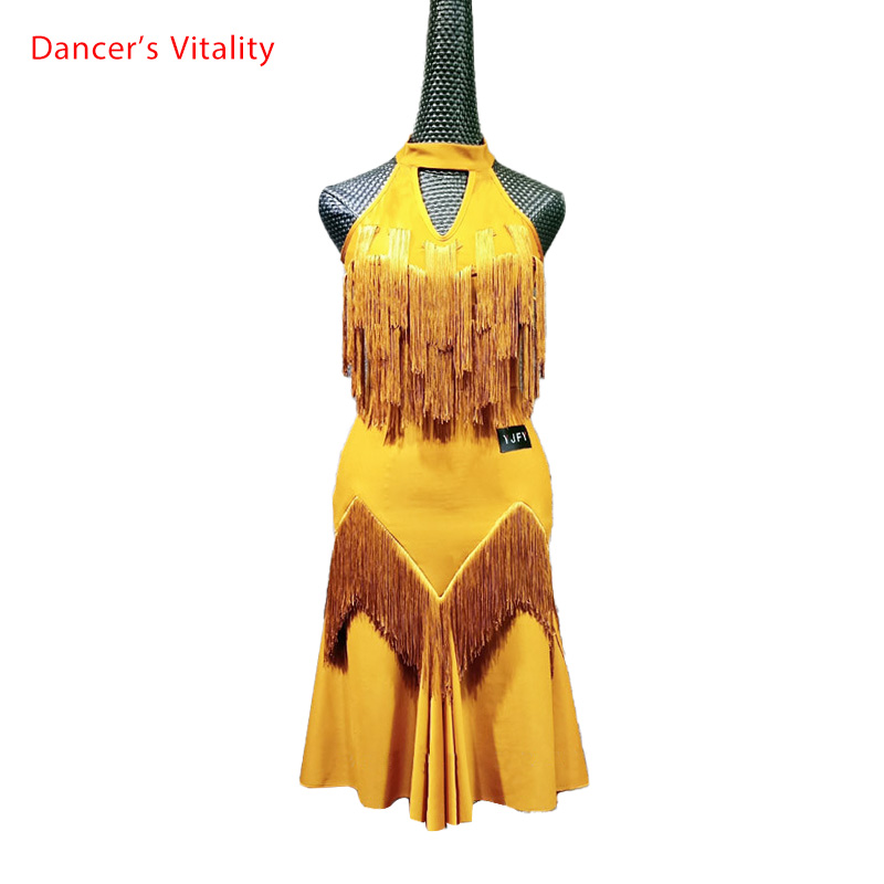 Adult Latin Dance Practice Costume Sling Tassel Dress Rumba Samba Tango Cha Cha Dance Competition Performance Stage Wear Apparel