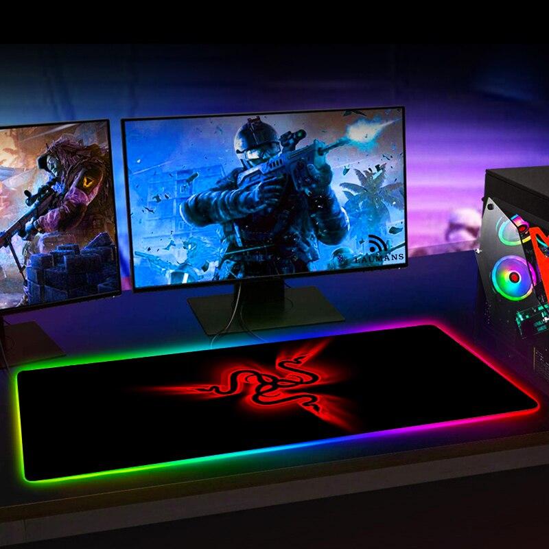 RGB игровой коврик для мыши Razer, большой светодиодный компьютерный геймерский коврик для мыши, большой коврик для мыши xxl, коврик для клавиатуры, Настольный коврик с подсветкой-2