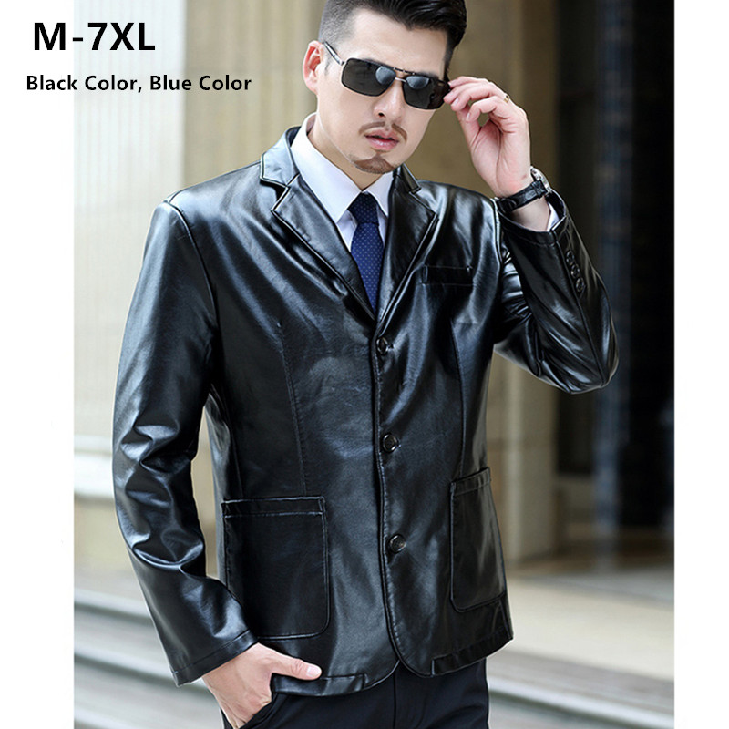 Leather Jacket Men 2019 Autumn Black Coat Mens Party Clothing Plus Size 5XL 6XL 7XL High Quality Blue PU Faux Leather Clothes