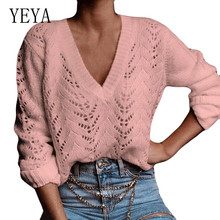 YEYA Elegant Women's Jumper Autumn Casual Long Sleeve Jumper V Neck Sweaters Sexy Hollow Out Crochet Yellow Pink White Pullover white hollow out scoop neck high low hem jumper