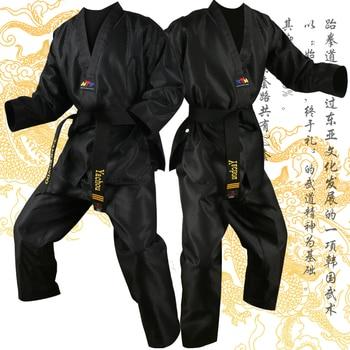 Uniforme blanco tradicional de Taekwondo para niños y adultos, uniforme de Dobok WTF, ropa TKD, entrenamiento de Fitness de manga larga