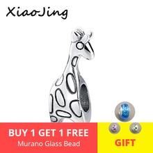 100% 925 Sterling Silver charms diy cute animal giraffe Beads Fit authentic pandora Bracelets Pendant Jewelry making women Gift