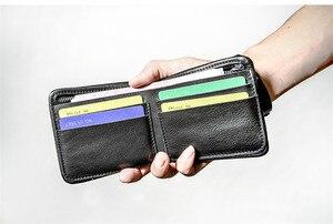 Image 2 - Pndme carteira masculina de couro legítimo, carteira masculina compacta feita em couro legítimo, macia e casual, simples, para jovens, feita em couro de vaca bolsa de mão
