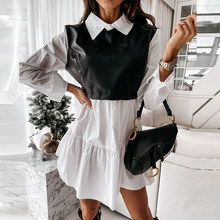 Женское клетчатое платье, весеннее модное лоскутное платье-рубашка из искусственной кожи с длинным рукавом, офисное женское мини-платье с о...