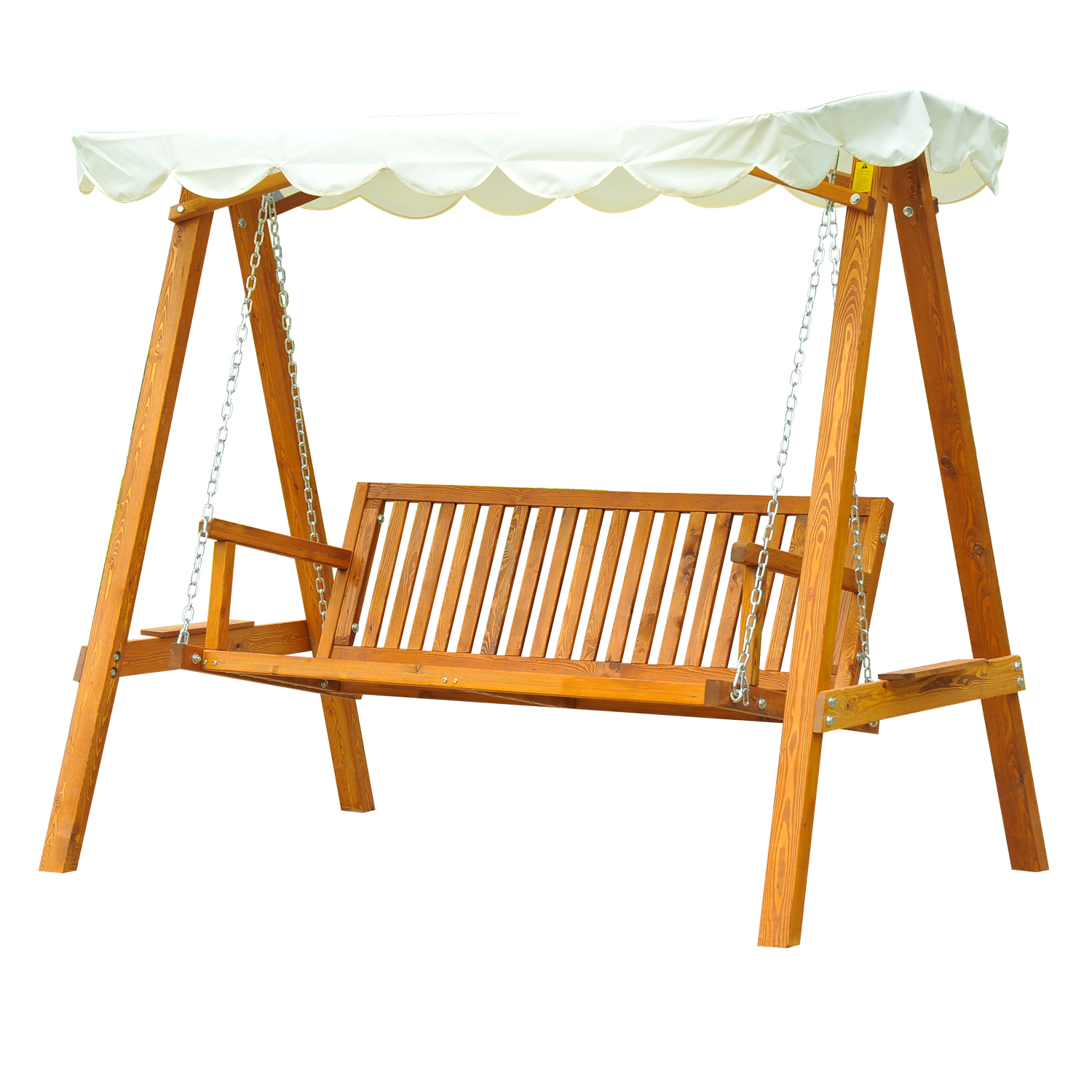 Outsunny Rocking 3 Seater Pine Wood With Sunshield Sun Shade Garden 200x130x185 Cm