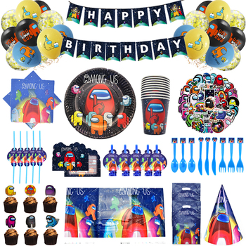 Among Us Game Theme Party Supplies set Disposable Tableware Cup Plate Napkin Straw Balloon Happy Birthday Kids Favorite decor 90pcs lot princess theme party decoration package for kids birthday party disposable supplies cup plate straw napkin flag