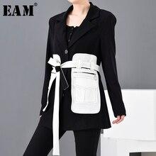 [EAM] Loose Fit Black Contrast Color Big Pocket Bandage Jacket New Lapel Long Sl