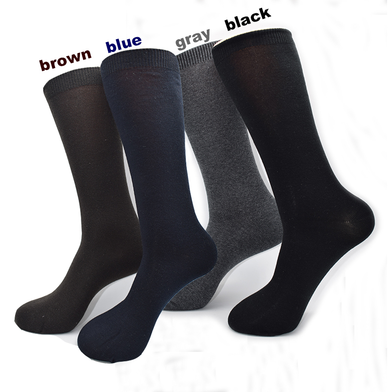 Fcare 8PCS=4 Pairs Black, Blue, Gray, Brown 40-46 Plus Big Size Warm Acrylic Cotton Mid Calf Men Dress Business Socks Calcetines