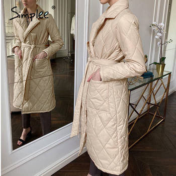 Simplee Long straight winter coat with rhombus pattern Casual sashes women parkas Deep pockets tailored collar stylish outerwear