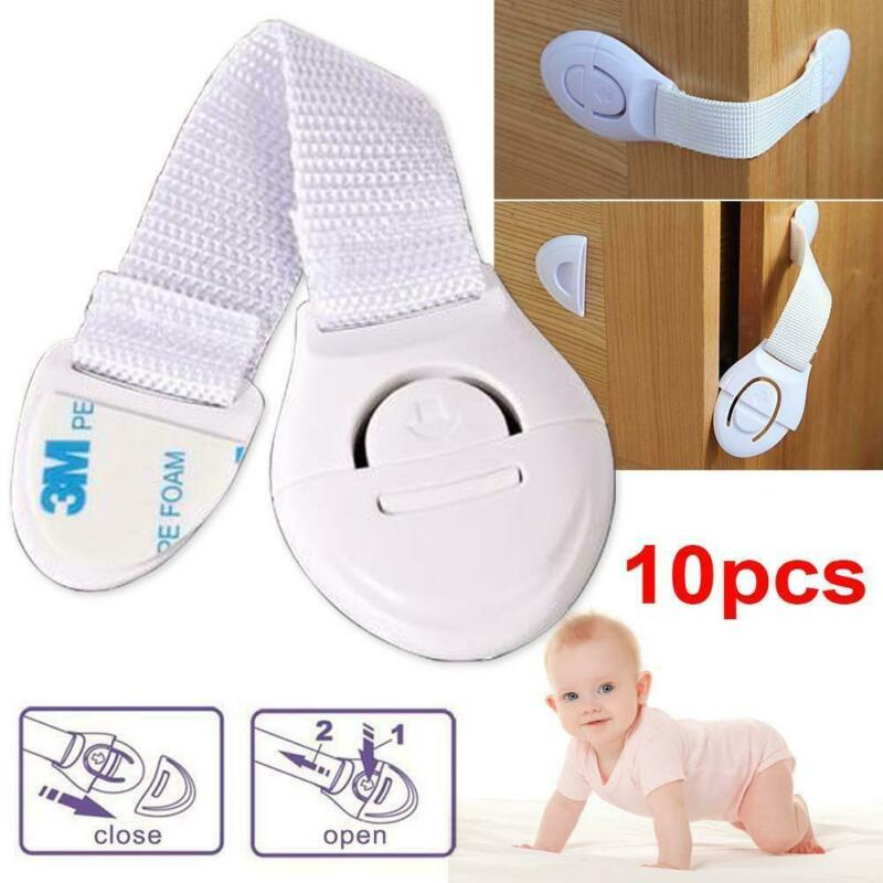 10Pcs <font><b>Baby</b></font> Safety Lock <font><b>Proof</b></font> Cabinet Cupboard Fridge Pet Door Cupboard Lock Children Security Protector Doorstop Guard Drawer image