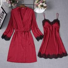 Red Sexy Sleep Robe Kimono Sleepwear Sets Womens 2pcs Strap Top Suit Casual Spring Home Wear Pajamas Nightwear Bath Gown