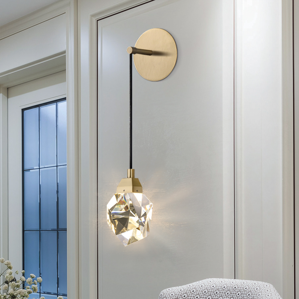 Moderne minimaliste cristal applique murale salon chambre taille de lit diamant design cristal cuivre applique murale