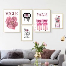 Nordic Posters And Prints VOGUE Paris Perfume Rose Fashion Luxury Shoe Wall Art Canvas Painting Pictures For Living Room