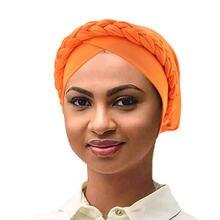 Мода 2020 мусульманская коса тюрбан капот для женщин Лоб крест