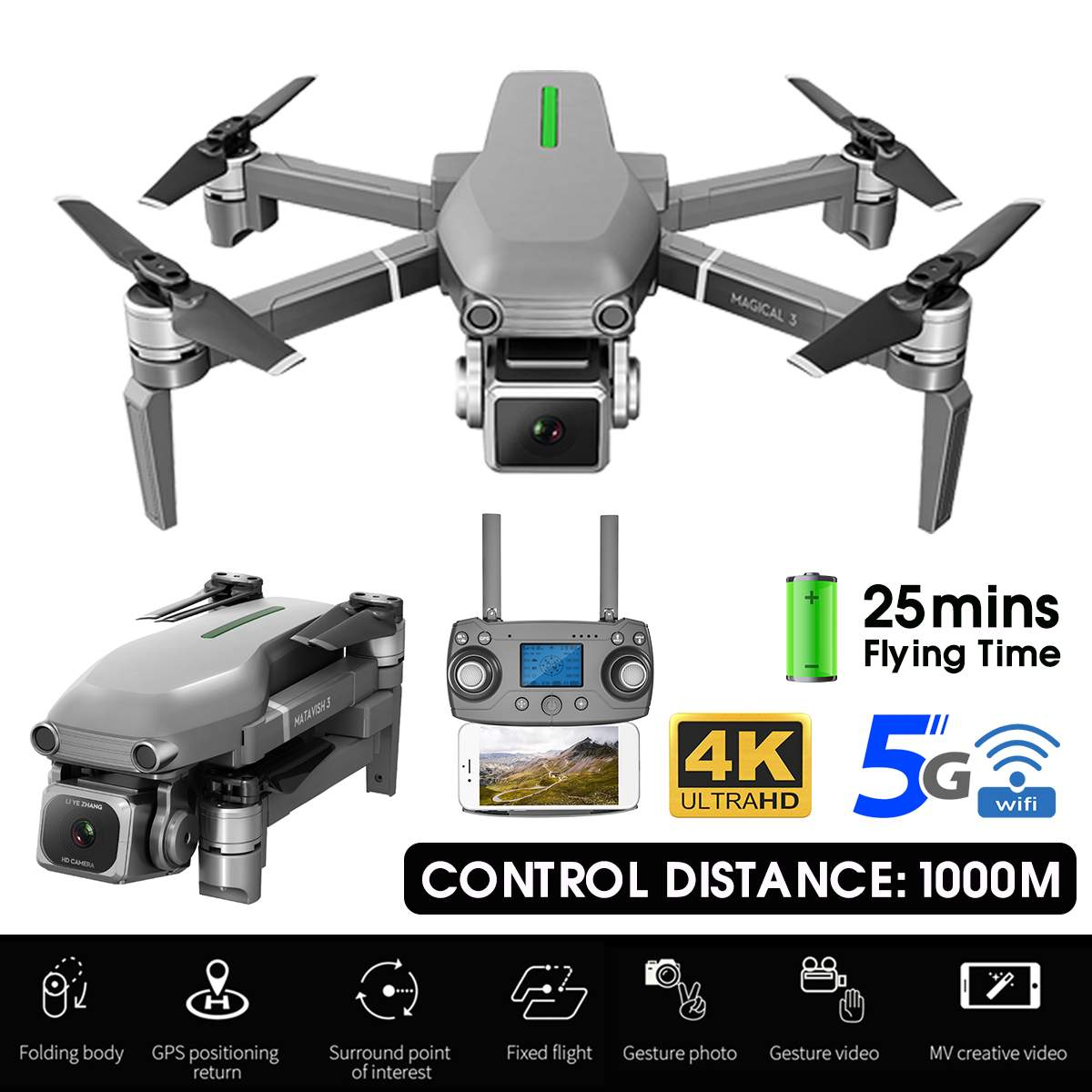 4K 5G Camera Drones 1km Remote 600m 800m WIFI Image Transmission High Hold Mode Foldable Arm RC Quadcopter Real-time Positioning