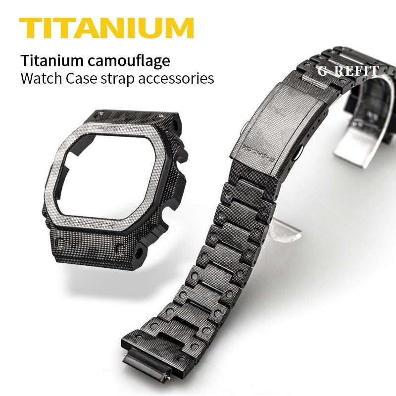 G-Refit G-SHOCK GW5000 DW5600 DW5610 5035 Titanium Alloy Watchbands Bezel Watch Set Watchband Bezel/Case With Tools Black Case