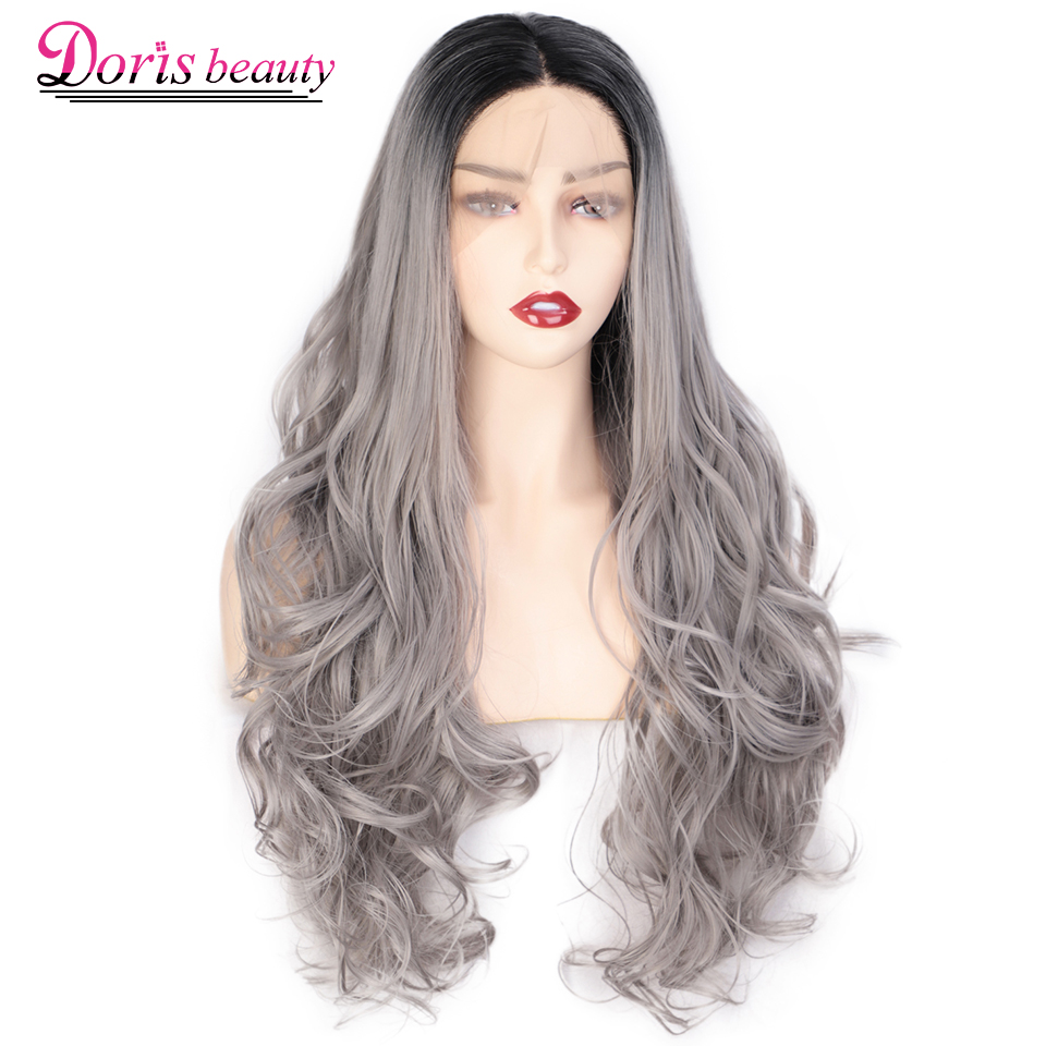 Doris beauty 13x4 Ombre Grey Synthetic Lace Front Wigs For Women Long Wavy Lace Wig Purple/Brown Cosplay wigs Free Part Natural