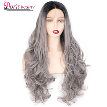 Doris beauty 13x4 Ombre Grey Synthetic Lace Front Wigs For Women Long Wavy Lace